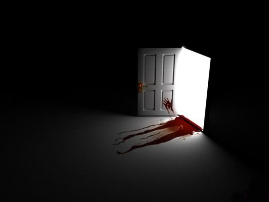 open_door_with_blood_pouring